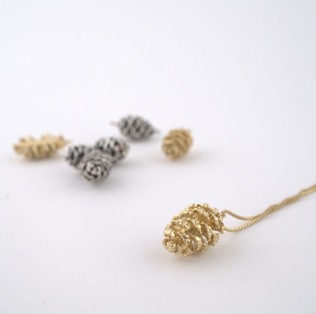 Gold plated natural pinecone necklace