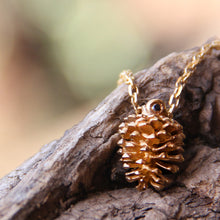 Load image into Gallery viewer, Gold plated pinecone necklace