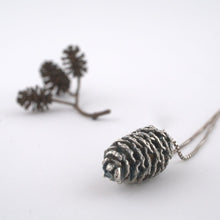 Load image into Gallery viewer, Silver pinecone necklace