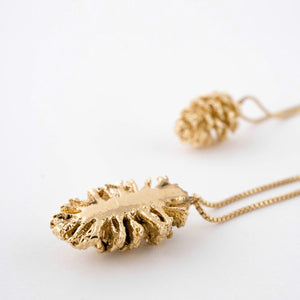 Half pinecone gold plated necklace