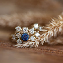 Load image into Gallery viewer, White diamonds & sapphire cluster ring