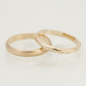 Faceted raw & clean gold rings