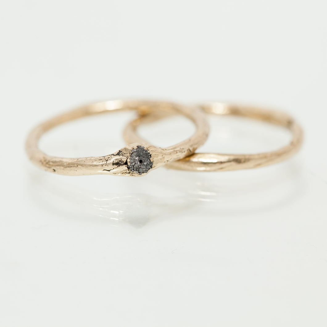 Raw gold ring & Thin raw gold ring with black raw diamond