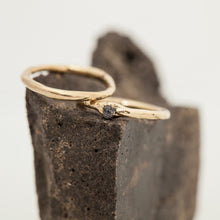 Load image into Gallery viewer, Raw gold ring & Thin raw gold ring with black raw diamond