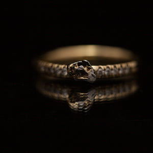 Meteorite diamond ring