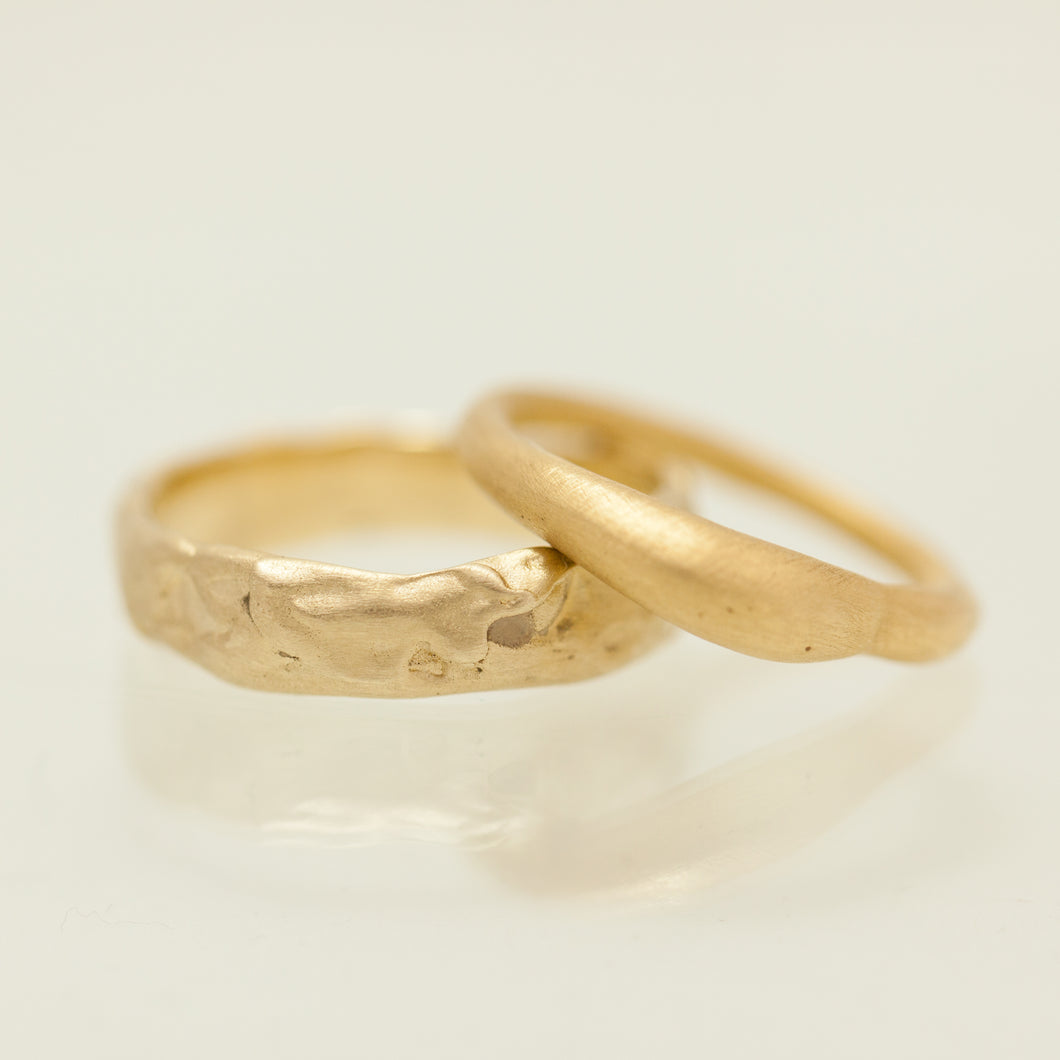 Raw & smooth Raw gold rings