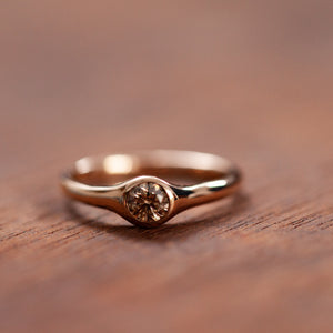 Smooth Brown diamond and red gold ring