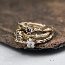 Load image into Gallery viewer, Champagne oval diamond branch ring