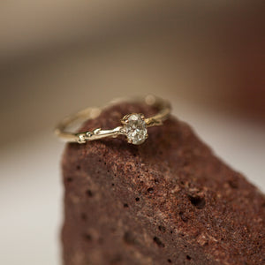 Champagne oval diamond branch ring