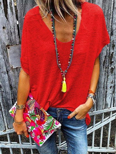 Red Casual Solid Shirts & Tops