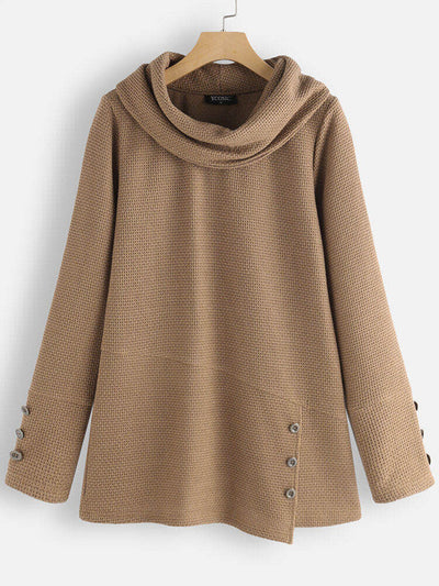 Khaki Vintage Plain Cotton-Blend Outerwear