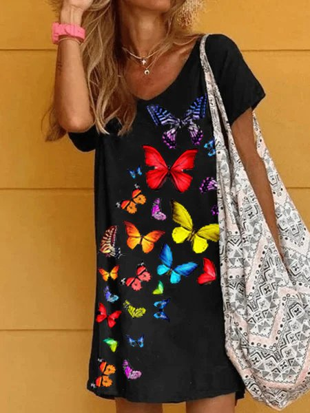Floral Printed Casual Cotton-Blend Dresses