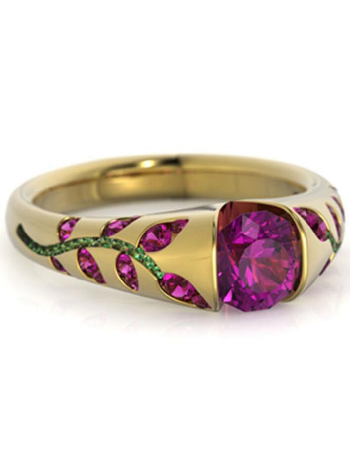 Leaves set with Gemstone Ring