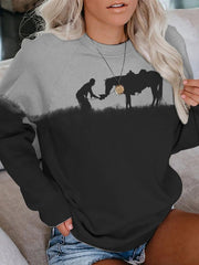 Ash Black Casual Animal Shift Crew Neck Sweatshirt