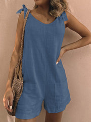 Pockets Sleeveless Casual Linen Rompers