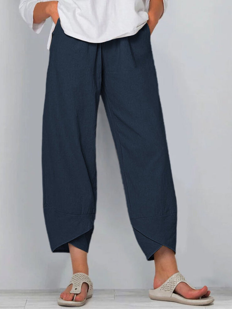 Navy Blue Casual Cotton-Blend Plain Pants