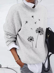 Casual Long Sleeve Plants Acrylic Sweater