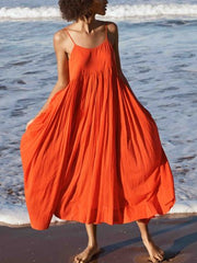 Orange Red Swing Spaghetti Cotton Holiday Dresses