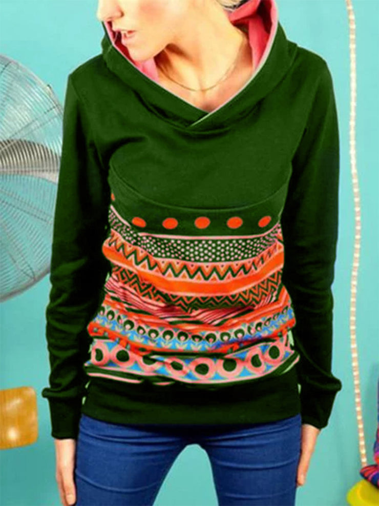 Plus Size Long Sleeve Vintage Printed Casual Sweatshirt
