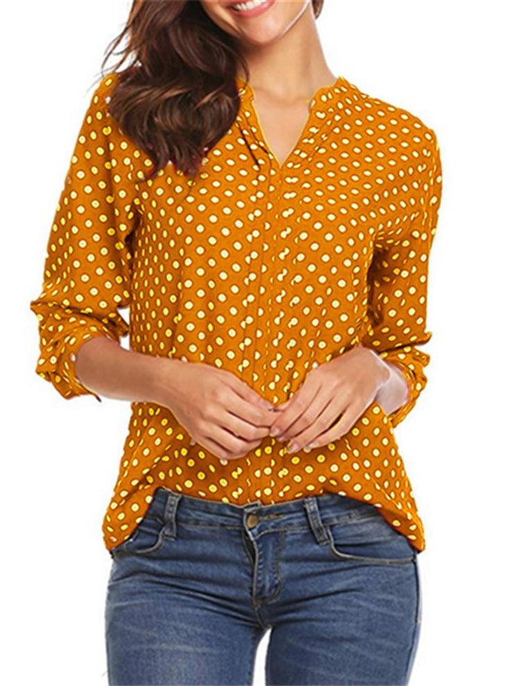 6 Colors S-5XL Paneled V Neck Blouses
