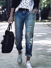Casual Personality Ripped Jeans