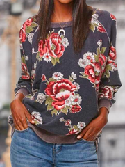 Long Sleeve Floral Printed Crew Neck Shirts & Tops