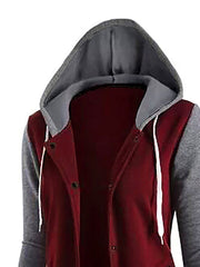 Long Sleeve Casual Paneled Cotton Hoodie Jacket
