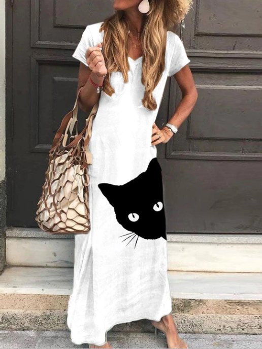 White Casual Crew Neck Animal Dresses