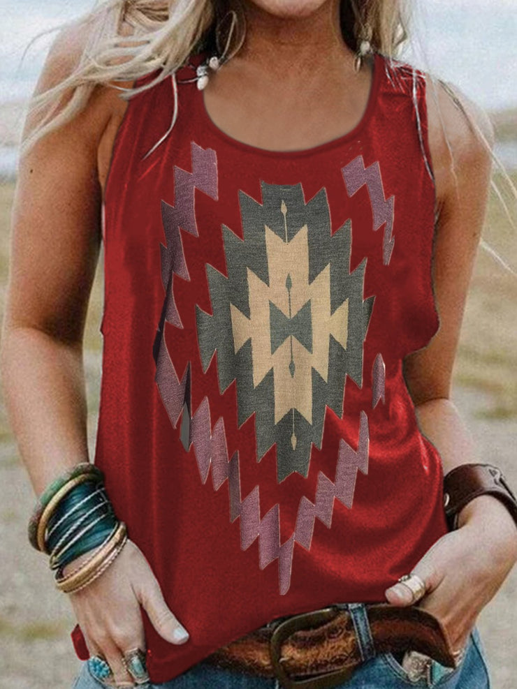 Vintage Sleeveless Boho Geometric Printed Crew Neck Plus Size Casual Vest Tops