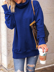 Cotton Casual Turtleneck Plus Size Sweatshirt