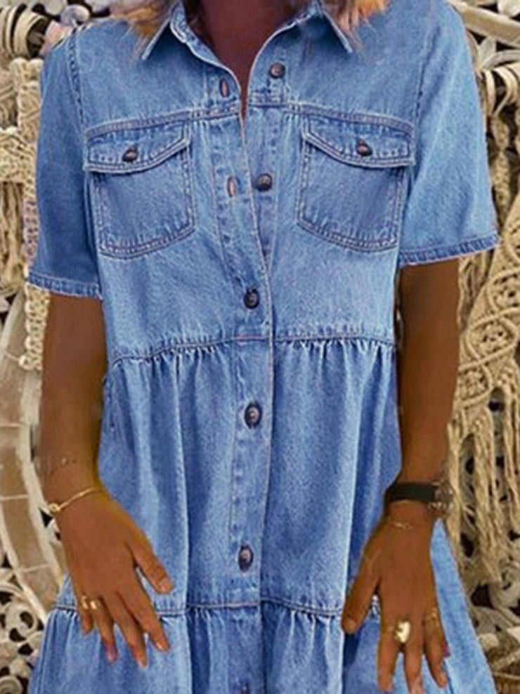 Denim Daily Casual Shirt Collar Short Sleeve Buttoned Pockets A-line Dresses