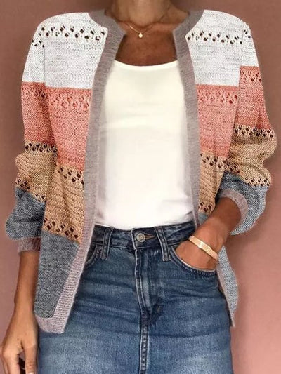 Ombre/tie-Dye Crew Neck Casual Long Sleeve Outerwear
