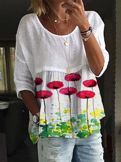 Floral 3/4 Sleeve Crew Neck Shirts & Tops