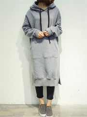 Hoodie  Shift Women Long Sleeve Basic Solid Casual Dress