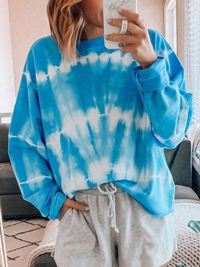 Ombre/Tie-Dye Casual Cotton-Blend Shirts & Tops