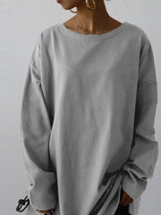 Long Sleeve Plain Shift Crew Neck Sweatshirt