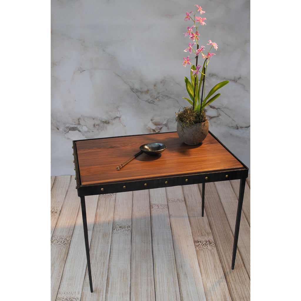Handmade Forged Industrial Modern Coffee Table Brass Rivets