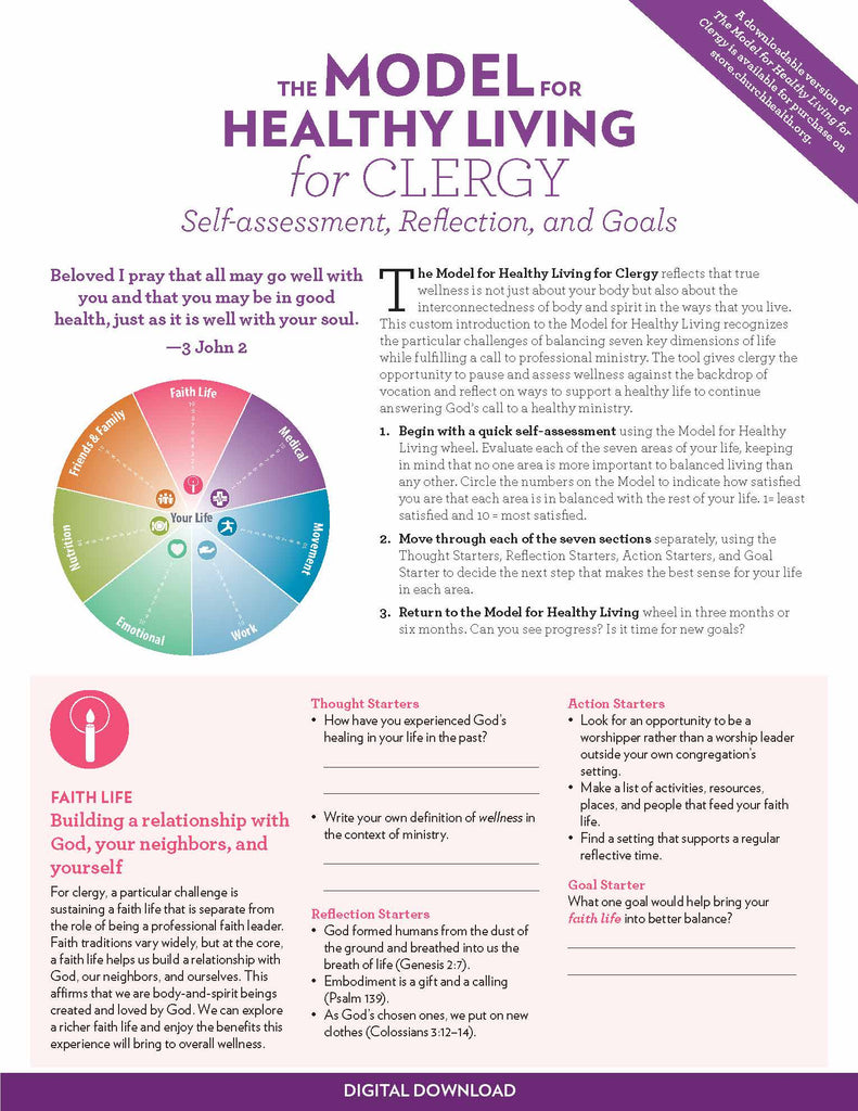 The Model for Healthy Living for Clergy | Digital Download