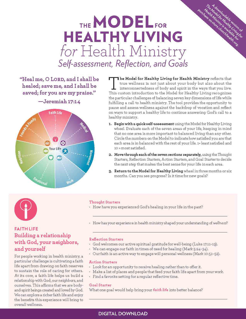 The Model for Healthy Living for Health Ministry | Digital Download