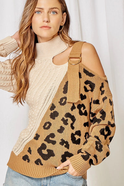 Cheetah One Shoulder Sweater
