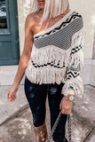 Fringe One Shoulder Sweater
