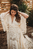 Romance In Lace Reclamation Vintage Ivory Lace Gown with Train 5 DAY RENTAL