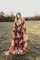 Long Burgundy Maxi Dress Full Flowing