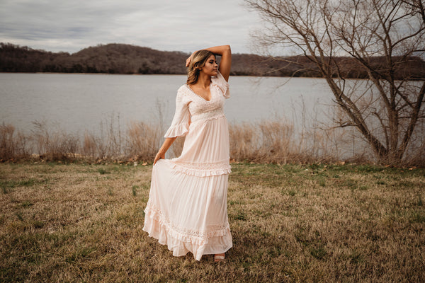 At The Garden Gate Pale Pink & Lace Maxi Dress