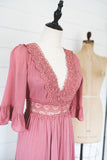 At The Garden Gate Mauve & Lace Maxi Dress