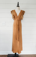 Camel Wrap Maxi Dress with Lace