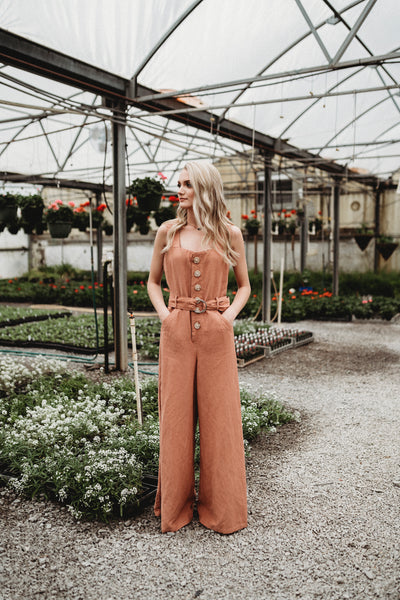 Big Button Camel Linen Wideleg Jumpsuit