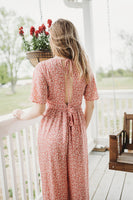Mauve Printed Wide Leg Plunge Neck Jumpsuit