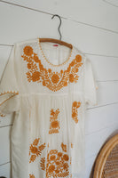 Bohemian Peasant Embroidered Mustard Top