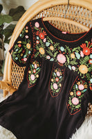 Black Embroidered Boho Bohemian Blouse